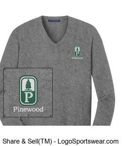 NEW! Classic Pinewood Mens Gray V-Neck Sweater Design Zoom
