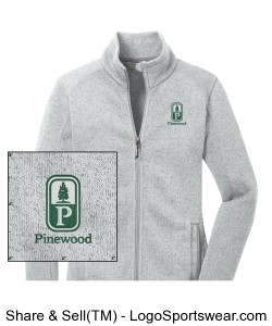 Classic Pinewood Womens Gray Fleece Zip-Up Design Zoom